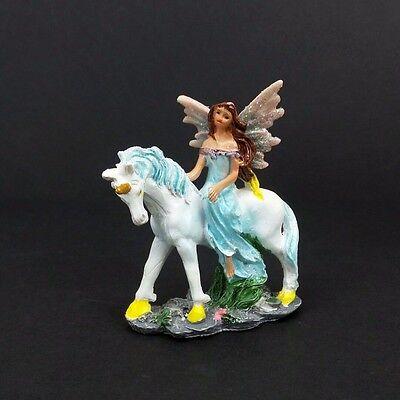 """Mini Fairy Blue Dress On Unicorn Figurine Miniature 3"""" Mythical Fantasy Statue"""