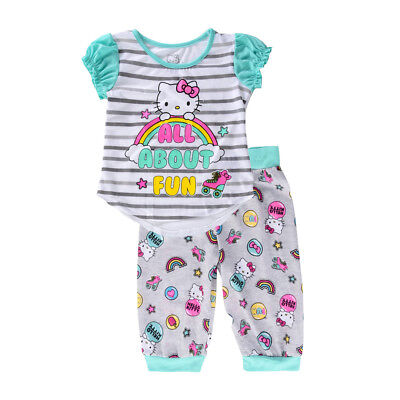 NEW Hello Kitty Big Girls' All About Fun 2 PC Pajama Set K183503HK](Hello Kitty Girls Pajamas)