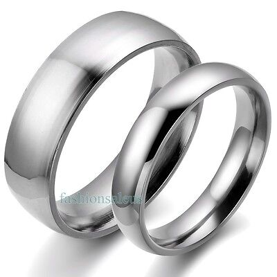 Solid Stainless Steel Plain Band Men's&Women's Rings for Cou
