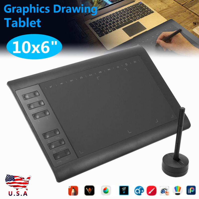 """10x6"""" Large Screen Graphics Drawing Tablet USB Painting Boar"""