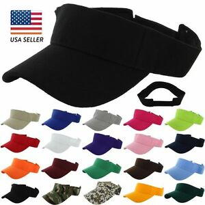 Visor-Sun-Plain-Hat-Sports-Cap-Colors-Golf-Tennis-Beach-New-Adjustable-Men-Women
