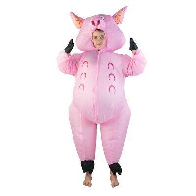 Kids Inflatable Pig Pink Farm Yard Animal Funny Halloween Fancy Dress Costume