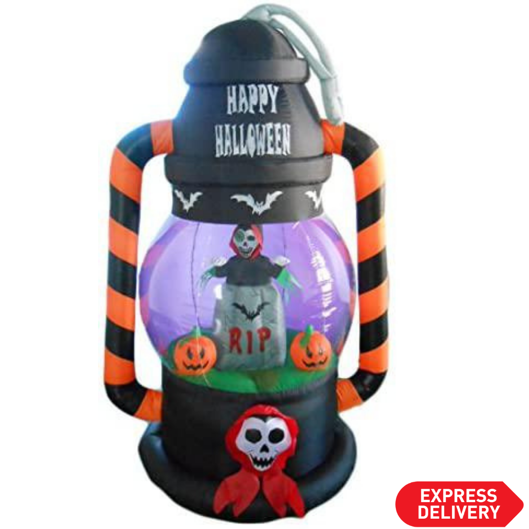 6 FT Tall Lighted Halloween Inflatable Lantern with Skeleton