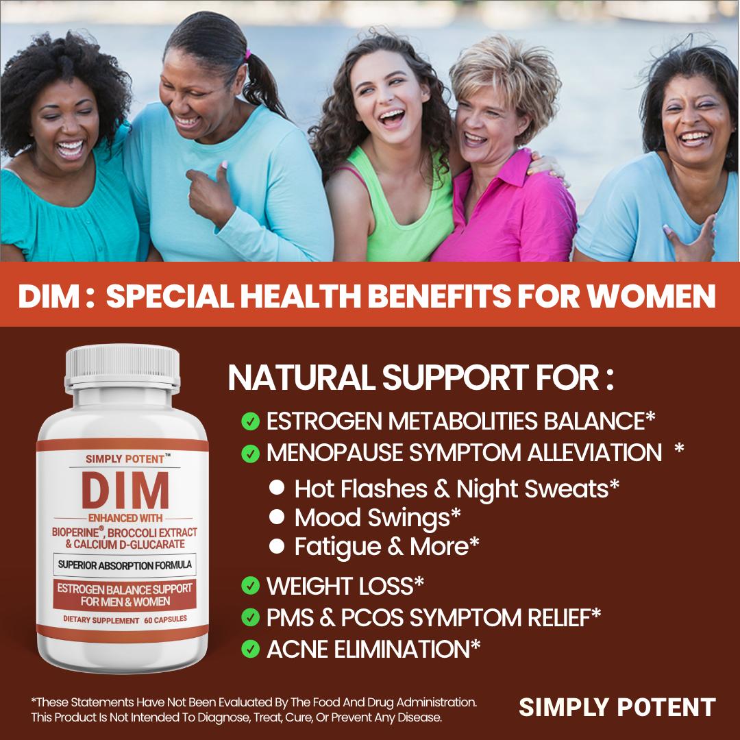DIM Supplement 150mg + BioPerine for Menopause Relief Hot Flashes Estrogen Pills 7