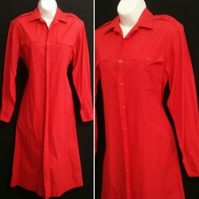 vintage Ralph Lauren Polo Safari Dress Red Shirtdress Cotton sz 6 Small for sale  Shipping to India