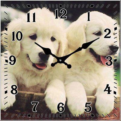 Dog Clock Labrador Pups (Yellow) - Glass Desk Clock