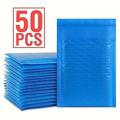 Durable Padded Envelopes 6x10 Bubble Wrap Mailers Poly Dvds Cds Blue Jewelry 50