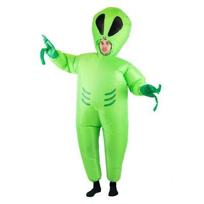 Adult Alien UFO Space Monster Invader Green Fancy Dress Costume Male - Alien Costume Female