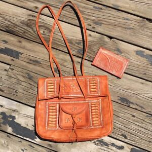 Tooled leather purse and wallet-new
