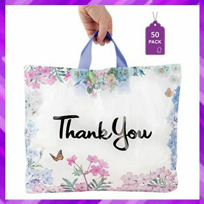 Thank You Bags For Business Floral Plastic Shopping Bag 50 Pcs Purple Q Crafts