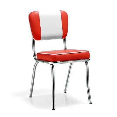 American Retro Stuhl Diner 50er Retro Chrom Kunstleder Farbe rot-weiß GASTRO ()