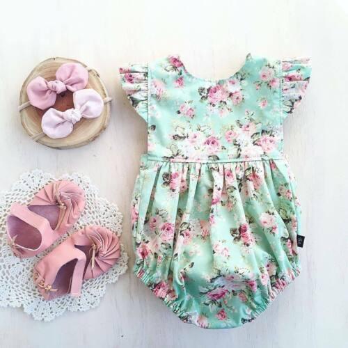 Newborn Baby Girl Flower Ruffle Romper Bodysuit Jumpsuit Out