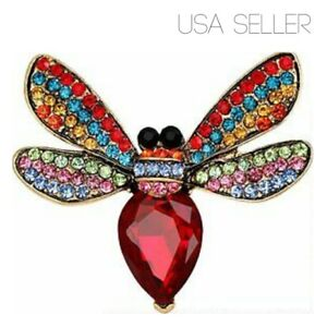 VINTAGE GOLD BEE INSECT RHINESTONE GEM CRYSTAL MOTHERS DAY GIFT PIN BROOCH USA