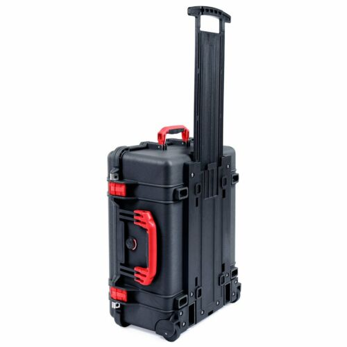 Black & Red Pelican 1560 Case.  No Foam - with wheels.