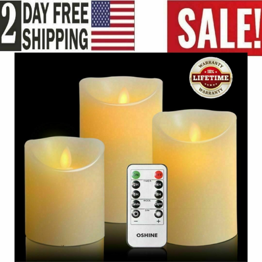 Flameless LED Candles Set 3 PC Luminara Flickering Moving Wi