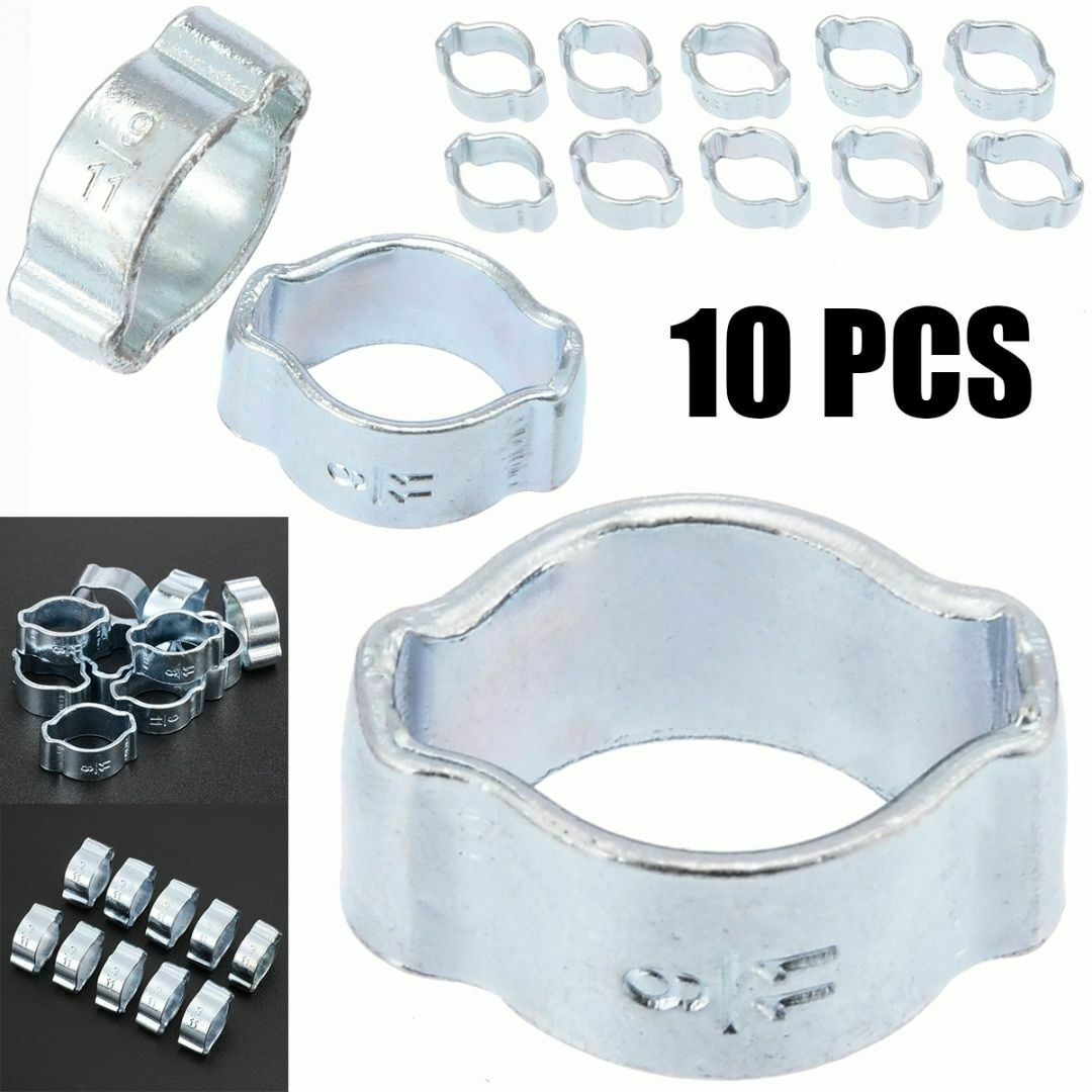 10 pcs 2-Ear Hose Clamp 9-11mm Zinc Plated Stainless Steel 5-23mm Fastener Pipe Clip for Automobiles Fule Petrol Pipe Tube