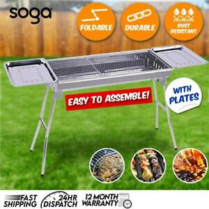 SOGA Skewers Grill w/ Side Tray Portable Stainless Steel Charcoal BBQ