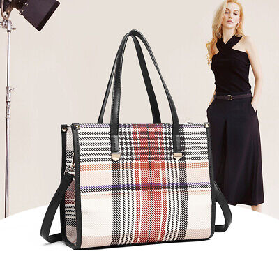 UK Women Designer Handbag Plaid Tartan Strap Shoulder Bag Fashion Ladies Tote