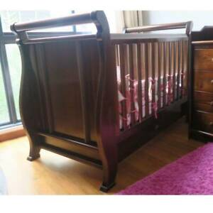Boori Sleigh Baby Cot with drawers with mattress