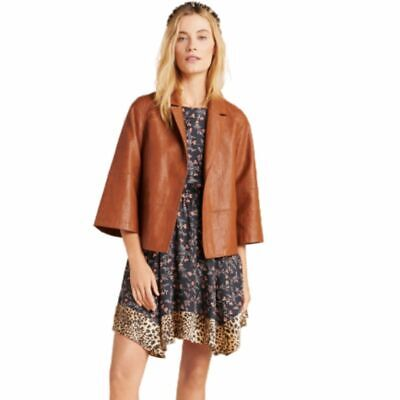 Anthropologie Women's Embroidered Vegan Faux-Leather Boxy Brown Crop Jacket