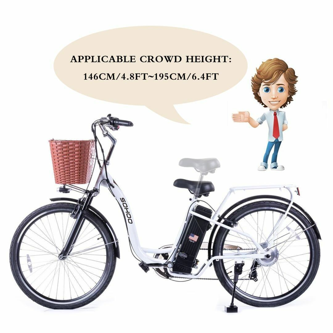 "SOHOO 36V350W10AH 26"" Electric Bicycle City EBike Mountion"
