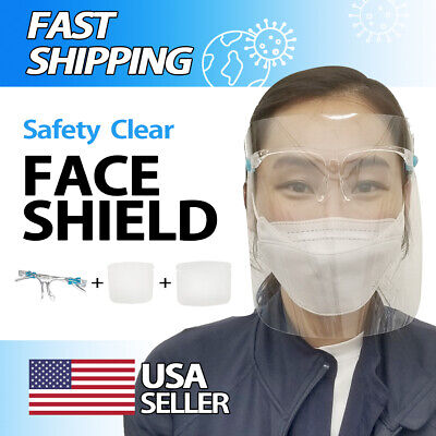 2PCS Face Shield Guard Protector Clear Reusable mask with A Clear Glasses Frame