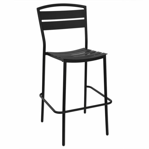 New Lena Restaurant Black Steel Outdoor Side Bar Stool
