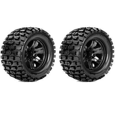 Roapex R/C Tracker 1/10 Monster Truck Tires Mounted on Black Wheels 12mm Hex (2)