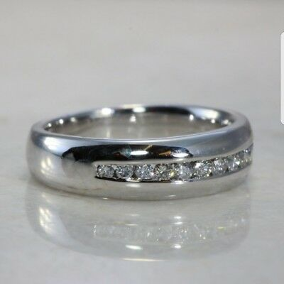 Mens 14k Solid White Gold Man made  Diamond Wedding Band Ring 14k Gold Diamond Wedding Ring