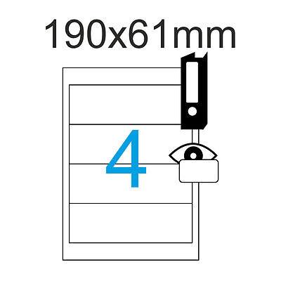 20 Etiketten Ordnerrücken 190 x 61 mm Weiß selbstklebend lang breit Blickdicht