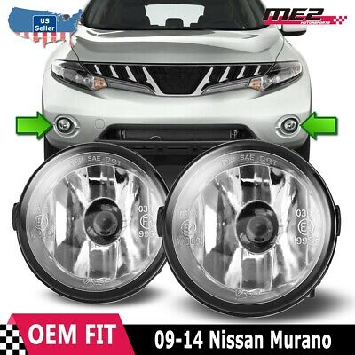 For Nissan Murano 09-12 Factory Bumper Replacement Fit Fog Lights Clear Lens 09 Factory Replacement