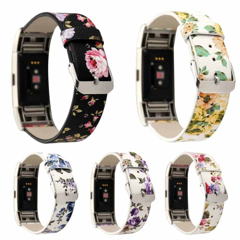 For Fitbit Charge 2 Floral Leather Replacement Bracelet Watc