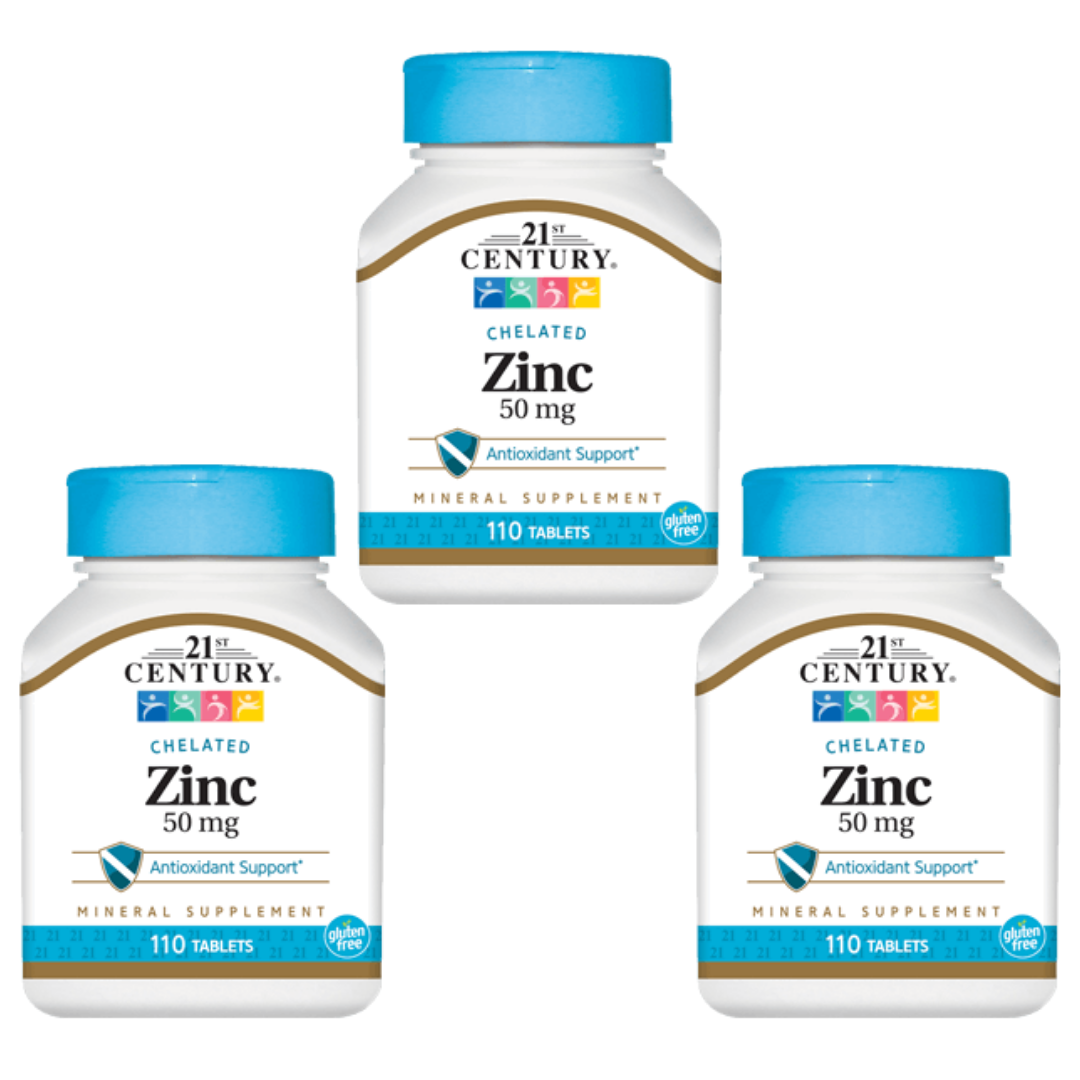 Pack of 3 - 21st Century Chelated Zinc 50mg 110 count Bottle - Fast Shipping