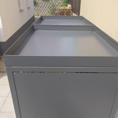 Mülltonnenbox 3er Unterstand mit Pflanzwanne Mülltonnenhaus grau, Verkleidung,