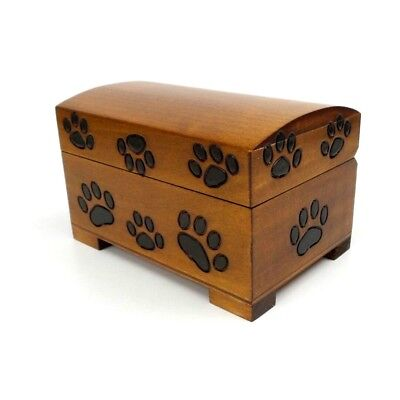 - Pet Urn Paw Print Wood Box Cat Dog Cremation Ashes Wood Chest Small Memorial Box