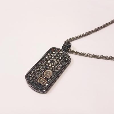 David Yurman Phantom Pave Diamond Necklace 2.6 CT Casted Titanium DOG TAG BLACK