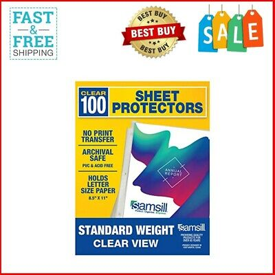 Box Of 100 Heavy Weight Clear Sheet Protectors Plastic Page Protectors 8.5 x 11