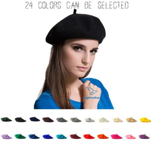 Damen Baskenmützen Mädchen Einfarbig Barett Mütze Wollmütze Maler Kappe