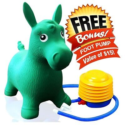 Kids Green Horse Hopper  Inflatable Jumping Ride On Bouncy Bouncer   Foot Pump