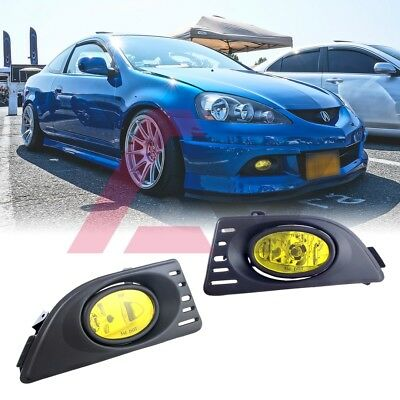 Real Carbon Fiber Cover Clear Fog Lights Lamps Kit Fits 2005-2006 Acura RSX DC5