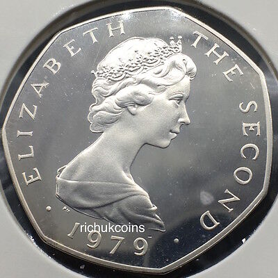 1979 IOM Viking Long-boat 50p Silver Proof Coin with t Privy