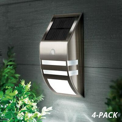 Stainless Steel Solar Wall Light 4-Pack, Motion Sensor, Outdoor Garden LED Light Stainless Steel Solar Wall