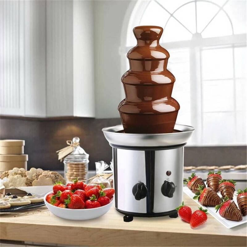 US 4-Tier Stainless Steel Chocolate Fondue Fountain Commerci