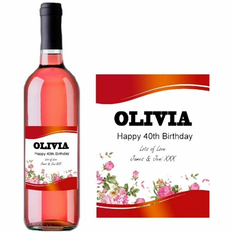 Personalised Red Rose Wine Bottle Label Birthday Present Any Occasion BL014