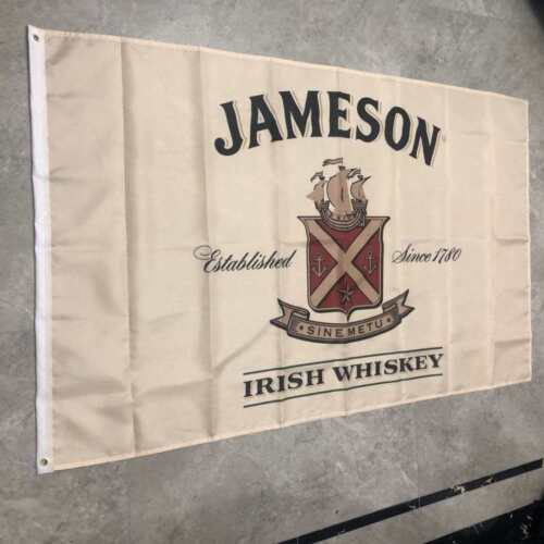 Jameson Whiskey Flag Banner 3X5 FT Beige Great For Man Cave Woman Cave Or Bar