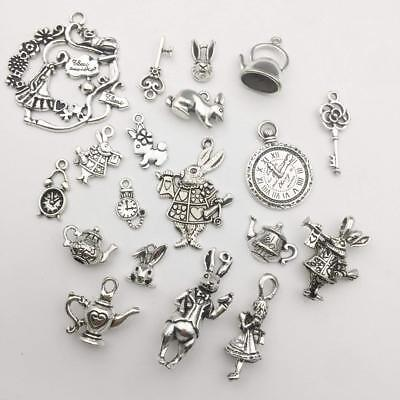 Alice in Wonderland Charms Set Antiqued Silver Themed Pendants Fairy Tale 40pcs](Wonderland Themes)