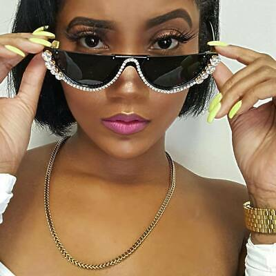 Sunglasses Fashion Shades Rhinestone Women Crystal Sexy Cat Eye Frame Oversized