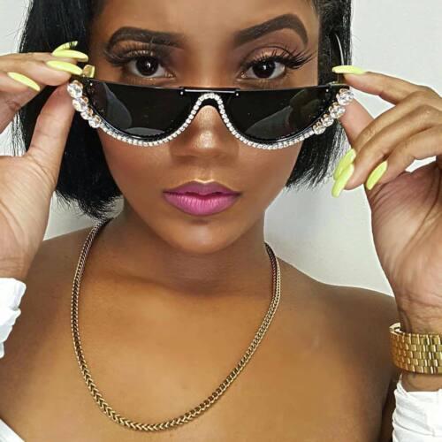 Sunglasses Fashion Shades Rhinestone Women Crystal Sexy Cat Eye Frame Oversized