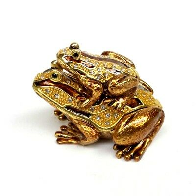 Bejeweled Frog - Frog Jewelry Trinket Box Bejeweled Gold Enamel Painted Mother and Baby Toad Box