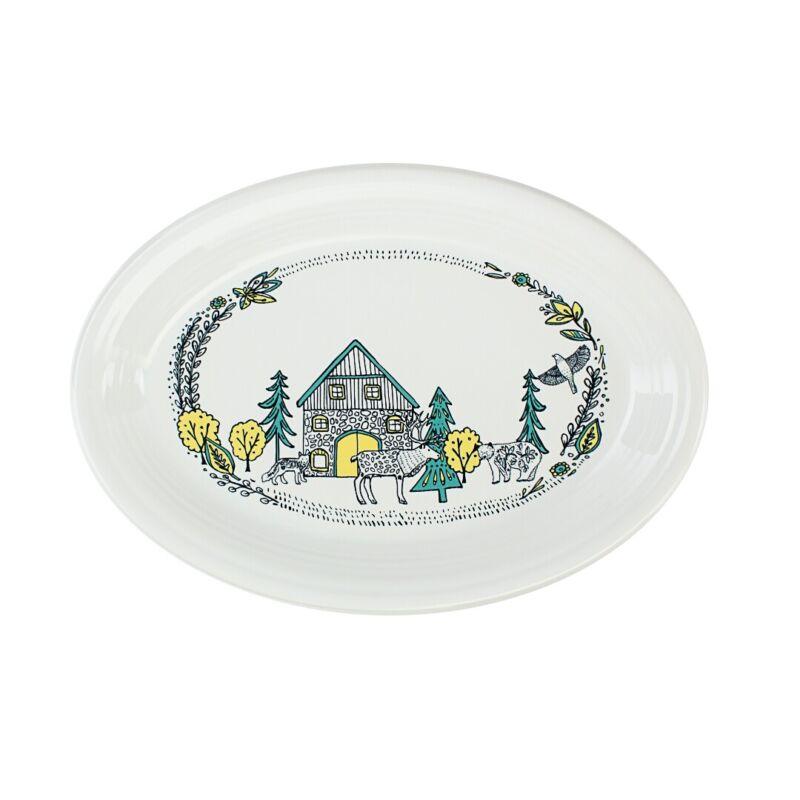 "Fiesta® Large 13.6"" Oval Serving Platter | Nordic Woodland (White)"
